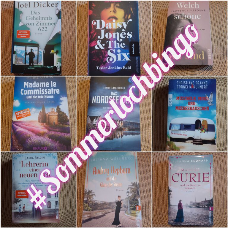 Sommerlochbingo Bingokarte mit 9 Büchern